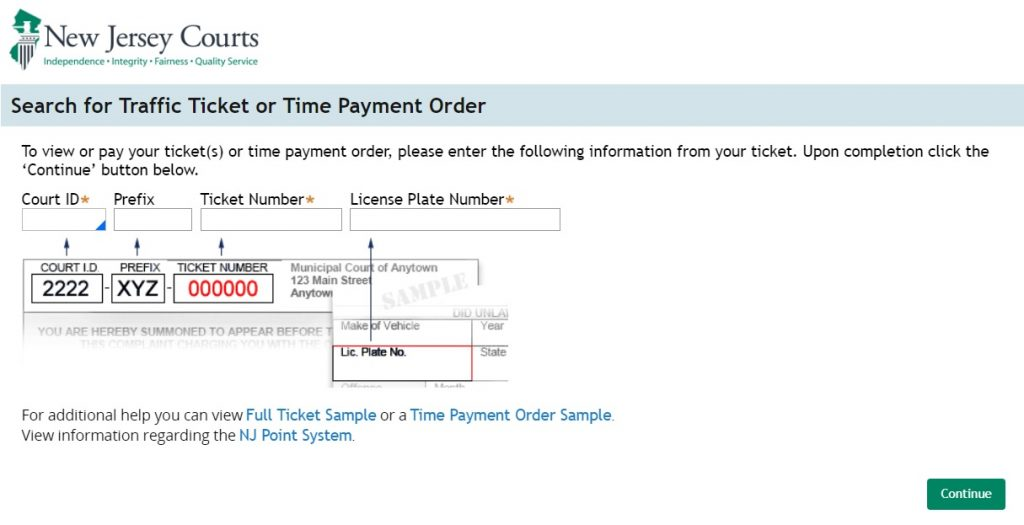 Search for NJ Traffic Ticket or Time Payment Order